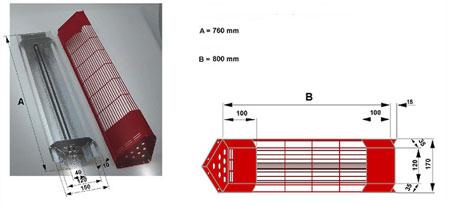 Dimensions des lampes infrarouge longueur standard pour les angles
